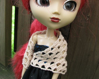 Small Beige Skull Shawl for Dolls fit Blythe and Pullip Dolls