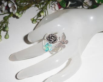 Original 925 sterling silver ring with pink butterfly and flower Swarovski Crystal