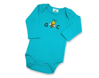 "Organic Baby Long Sleeve Bodysuits | 5 Color Options | Screen Printed Front ""ABC"" 