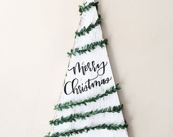 Merry Christmas Wood Tree Sign
