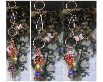 Rainbow Wind Chimes - Glass Wind Chimes - Copper Wind Chimes - Garden Decor - Garden Art - Dragonfly Wind Chimes - Butterfly Wind Chimes