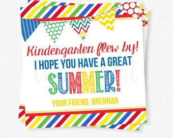 Kindergarten Flew By Tag, End of School Year Tag, Last Day of School Gift Tag, Printable Summer Tag, Primary Colors