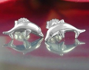 Small dolphin stud earrings silver 925