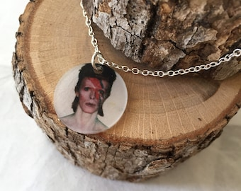 Aladdin Sane David Bowie Inspired Small Pendant on Silver Chain Necklace