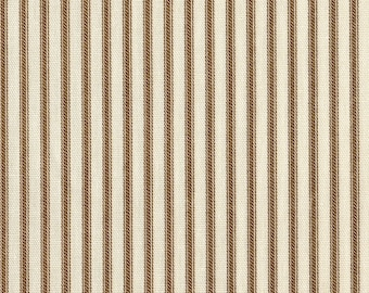 """72"""" Shower Curtain, Suede Brown Ticking Stripe, Unlined"""