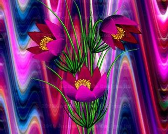 Textile Artist Made 4 Fabric 100% Cotton Sateen Art Prints Panel Tulip Purple Green Violet Flower Quilting