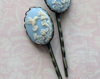 Hummingbird and Flower Cameo Hair Bobby Pins in Wedgwood Blue or Pink, Set of Two Hummingbird Bobby Pins, Cameo Bobby Pins, Bird Lover Gift