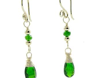 Chrome Diopside  Earrings, Green Drop Earrings, Chrome Diopside Jewelry, Green Gemstone Earrings, Green and Gold Earrings
