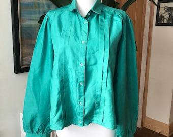 Jade green 1980s blouse