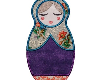 """Anoushka Babushka Doll Machine Embroidery Designs Applique Patterns 2 variations in 4 sizes 4"""", 5"""", 6"""" and 7"""""""
