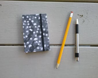 """Star Pattern Pocket-Sized Handmade Notebook - approx. 3""""x4"""" - blank, 96 pages - elastic closure"""
