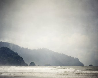 "Coastal Landscape Photography, Nature Photography Print, Cannon Beach Oregon, Ocean Art, Landscape Print, Coastal Art, Fog ""Land's End"""