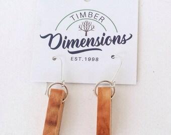 Wooden Earrings. Figured timber. Myrtle
