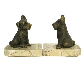 Art Deco Dog Bookends. Terrier Figural Book Ends. Art Deco Animal Statues. Dog Lover Gift. Library Office Decor.