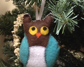 Owl, blue and brown hand-sewn felt ornament