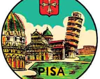 Vintage Style Italy Leaning Tower Of Pisa  Travel Decal sticker