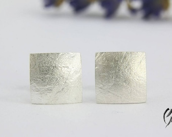 Earrings Silver, square 7.5 x 7.5 mm, paper textured, manual work