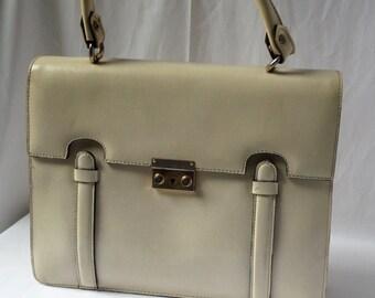 Vintage faux leather handbag cream with handle / style satchel / 1970s-1980s / C.O.D. Paris / mode French retro /cadeau woman