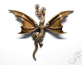 DRAGON PIN Antique Gold w/ Blue AB Rhinestones, 2 Posts, Fantasy, Victorian Steampunk, Game of Thrones, Tack Pin, Purse Hat Lapel, #Pin0116