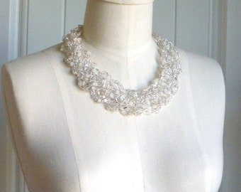 Bridal Necklace, Statement Necklace, Wire Crochet Necklace, White Crystal Necklace, Beaded Necklace, Mother of the Bride, Special Occasion