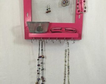 Hot Pink and white Jewelry holder, frame, jewelry organizer, storage shelf, necklace hook, earring hanger