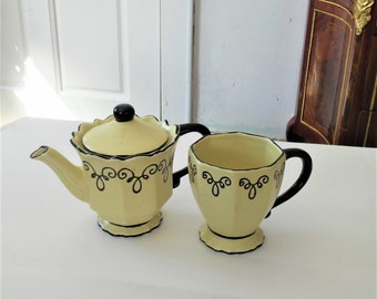 Vintage Personal Teapot with a Personal Cup Ceramic Scroll Pattern