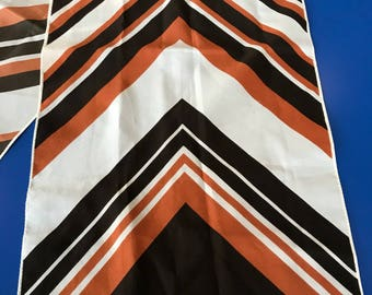 Vintage Neck Scarf 1970s Chevron Striped