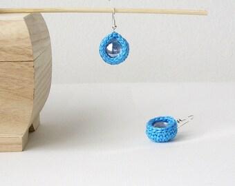 Turquoise Crochet Earrings Teardrop Dangle Earrings  Textile Earrings Small Crochet Ball
