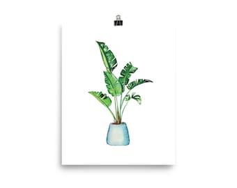 Banana Leaf Print, Watercolor Plant Print, Watercolor Plant Painting, House Plant Print, Greenery Art Print, IL001