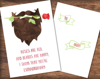 Printable Beard Valentine's Day Card- INSTANT DOWNLOAD, Watercolor Roses are Red Valentine Print, Digital File