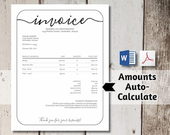 Invoice Template Etsy - Blank invoice pdf download free top 10 mens online clothing stores