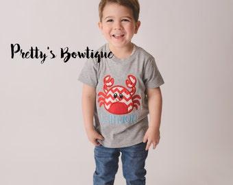 Boys Summer Beach shirt-- Boys Crab shirt-- Monogram Boys Shirt -- Monogram Boys summer crab shirt --Crab with Monogram perfect summer shirt