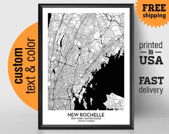 New rochelle map Etsy