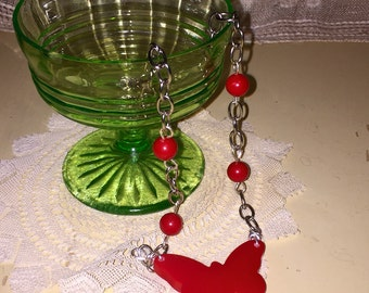 Vintage Cherry Red Butterfly Bakelite Pendant Figural Necklace with beads