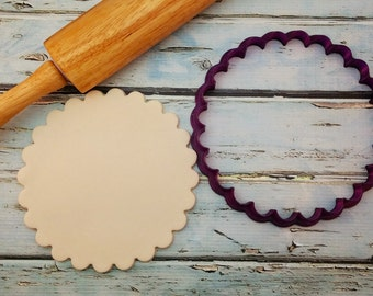 Round Scalloped Cookie Cutter and Fondant Cutter and Clay Cutter