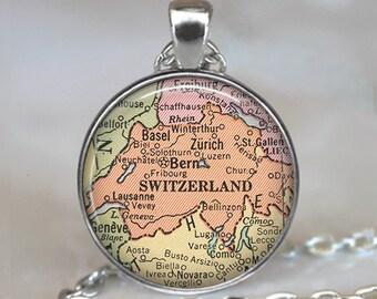 Switzerland map necklace, Switzerland map pendant, Switzerland necklace, map jewelry, map jewellery map key chain key ring key fob
