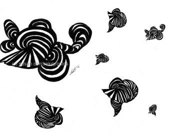 Shells, Random Shells, black and white card, abstract beach shells, write your own message inside, conch shell, ribbons