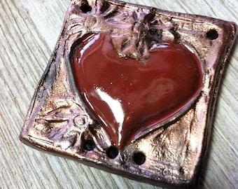 61. Wondrousstrange Raku Heart Pendant Copper Red Valentines Sweetheart