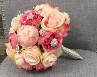Pink Quinceanera Bouquet, Brooch Bouquet, Peony Bouquet, Rose Bouquet, Bridal Bouquet. Rhinestone Bouquet