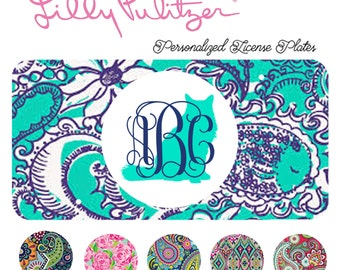 Cat Kitten Monogrammed License Plate, Lilly Pulitzer, Car Accessory, Tag Plate, Kitty