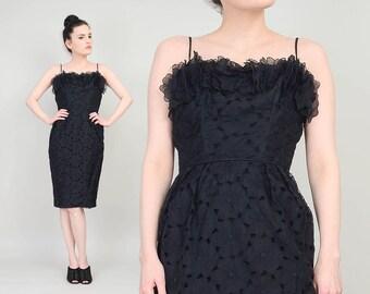 50s 60s Black Floral Cut Lace Dress | size Small | Jonny Herbert Sheer Organza Embroidered Lace Spaghetti Strap Wiggle Midi Dress | S