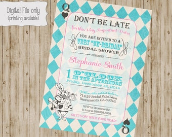 Alice in Wonderland Bridal shower Invitation, Mad Hatter Tea Party Invitation, Alice in Wonderland bridal shower tea party invitation