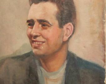 Antique oil painting male portrait