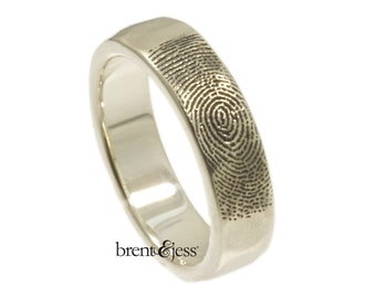 Organic Fingerprint Wedding Band with Refined Edge in Sterling Silver