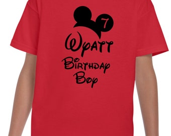 Youth Disney Mickey Birthday Boy Custom Customizable Personalized Shirt Tshirt