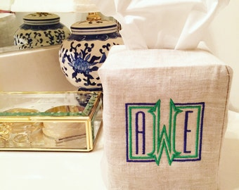 Monogrammed tissue box cover, kleenex cover, monogrammed home decor, christmas gift, wedding gift, graduation gift