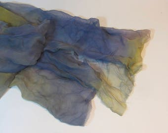 Hand Dyed purple and yellow Silk Gauze