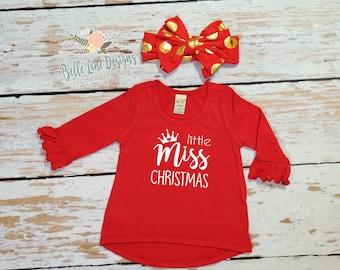 Little Miss Christmas Red Shirt   Christmas Gift for Girls   Toddler Christmas Gift   Gift Ideas for Girls   Kids Christmas Shirt   362