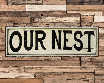 Our Nest Vintage Looking Shabby Chic Metal Sign Kitchen Home Wall Décor