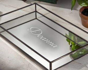 personalized glass tray vanity organizer mirrored tray with clear glass sides display storage dresser tray home